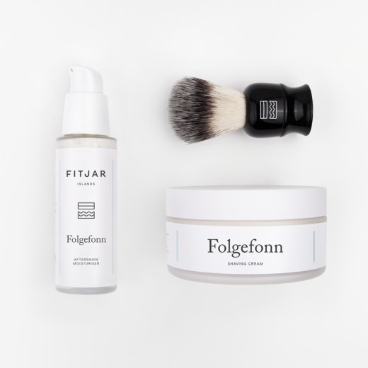 Folgefonn Shaving Cream + Aftershave Moisturiser + Vegan Shaving Brush | FITJAR ISLANDS SETS.