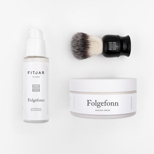 Folgefonn Shaving Cream + Aftershave Moisturiser + Vegan Shaving Brush | FITJAR ISLANDS SETS.